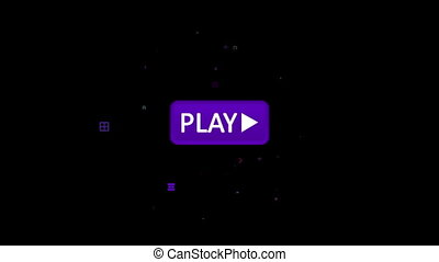 """""""Violet play icon pressed with arrow"""" - """"A funny 3d..."""
