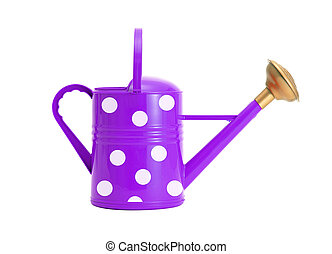 violet polka dot watering can isolated on white