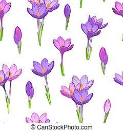 Violet purple crocus flowers seamless pattern