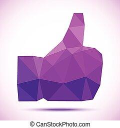 Violet -purple geometric polygonal thumb up icon