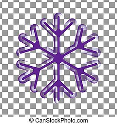 Violet, purple transparent snowflake silhouette template icon. Trendy shapes composition. New year winter Icon Eps10 vector illustration