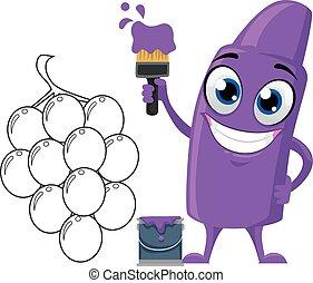 violet, raisin, coloration, crayon, mascotte