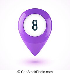 Violet realistic 3D vector glossy map point symbol