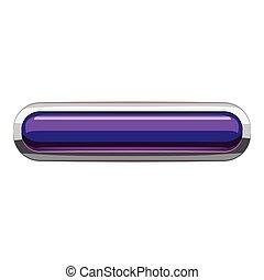 Violet rectangular button icon, cartoon style