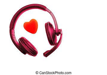 Violet Red Headset, Headphones with Microphone and Red Heart...