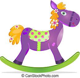 violet rocking horse toy icon isolated on whute background