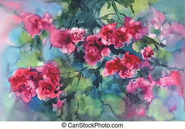 violet roses in green background watercolor
