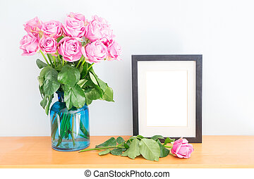 Violet roses with photo frame