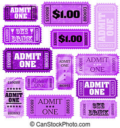Violet set of ticket admit one. EPS 8