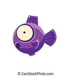Violet Shocked Fantastic Aquarium Tropical Fish Cartoon Character