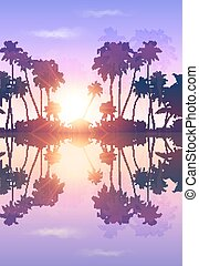 Violet sky vector palms silhouettes with reflection