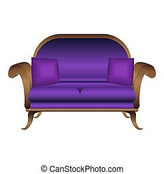 Violet sofa icon, cartoon style