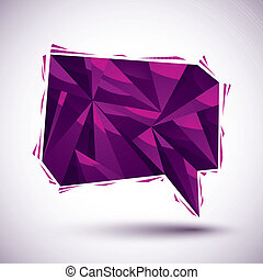 Violet speech bubble geometric icon made in 3d modern style, bes