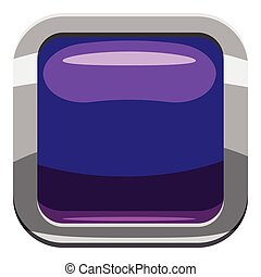 Violet square button icon, cartoon style