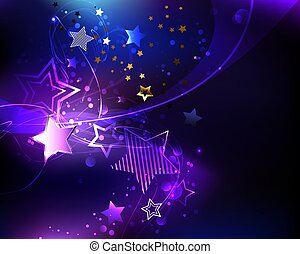 Violet star - Dark cosmic background with purple, glowing, ...