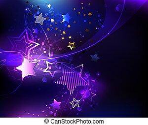 Violet star - Dark cosmic background with purple, glowing, ...