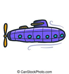 Violet submarine icon, hand drawn style