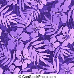 Violet vector tropical flowers seamless pattern