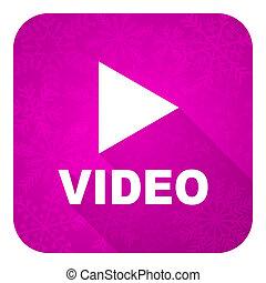 violet, vidéo, icône, noël, plat, bouton