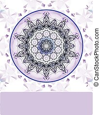 Violet vintage vector pattern. Hand drawn abstract mandala. Decorative retro stylized flower. Blank banner, invitation, wedding card, scrapbooking and others. Oriental vector design element.