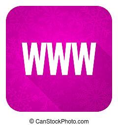 violet, www, icône, noël, plat, bouton