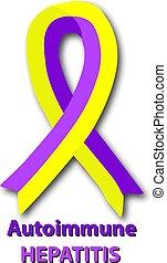 Violet yellow ribbon. Autoimmune hepatitis. World Hepatitis...