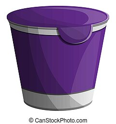 Violet yogurt pack icon, cartoon style