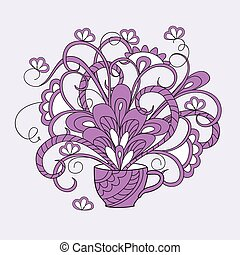 violet zen cup with flowers - Hand drawn isolated...