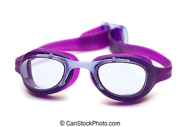 violeta, anteojos, para, nade, blanco, plano de fondo