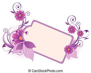 violeta, bandera, con, flores, hojas, y, ornamento