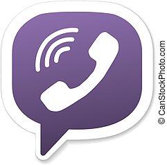 violeta, burbuja, icono de teléfono, discurso, microteléfono