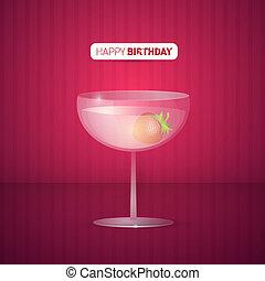 violeta, feliz, plano de fondo, cumpleaños, vector, bebida