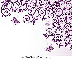 violeta, floral, tarjeta