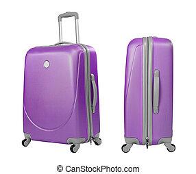 violeta, maleta, o, tronco, aislado, con, ruta de recorte,...