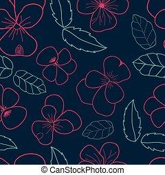 Violets and Leaf scatter seamless vector pattern