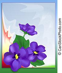 Violets close-up on abstract fractal background digital illustration.