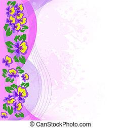 violets on pink spray