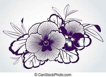 Violets on white background.