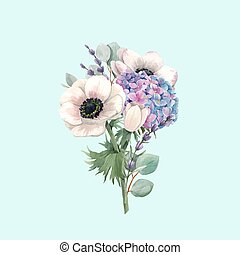 violett, anemoner, bakgrund., vacker, blommig, vektor, ...