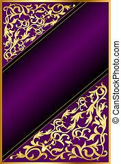 violett, bakgrund, band, gold(en), prydnad