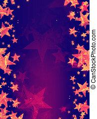 violett, bakgrund, med, lysande, gyllene, stjärnor