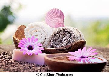 violett, dayspa, natur, satz