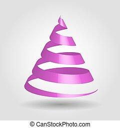 violett, glatt, band, in, a, form, av, julgran