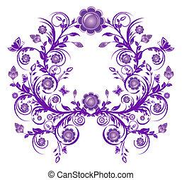 violett, illustration, blommig, vektor, ram, prydnad