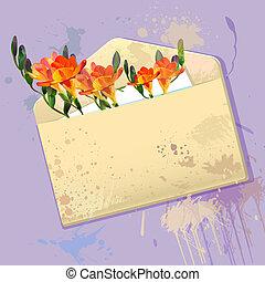 violett, kort, med, grunge, kuvert, och, blomningen