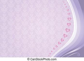 violett, kort, valentinkort, &, rosa