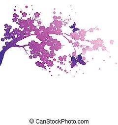 violett, silhouete, träd, på, a, vit