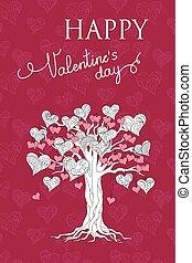 violett, valentinkort kort, med, träd, av, hjärtan