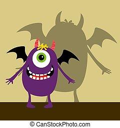 violett, zyklopen, monster, glücklich