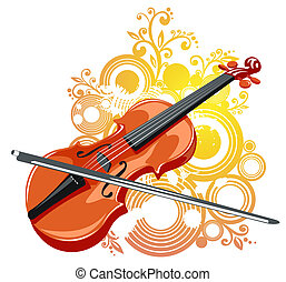 violin and abstract pattern - Stylized violin and abstract...